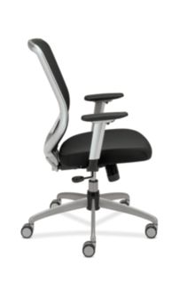HON Boda Mesh Back Task Chair Black Sandwich Mesh Adjustable Arms Side View HMH01.MM10.C