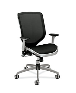 HON Broda Mesh Back and Seat Task Chair Black Mesh Front Side View HMH02.MST1.C