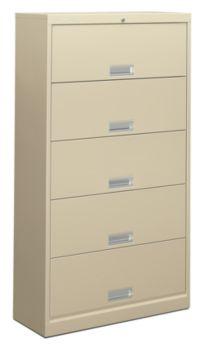 HON Brigade 600 Series 5-Shelf File Light Brown Front Side View H625.L.Q