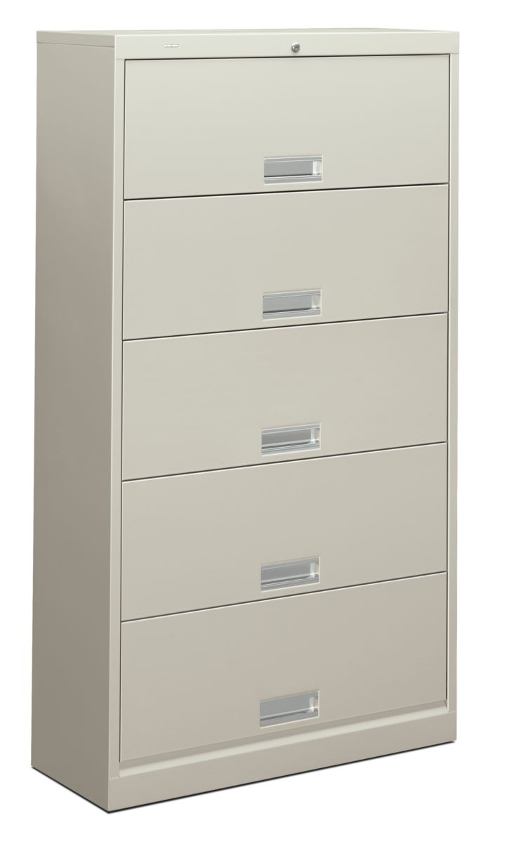 HON Brigade 600 Series 5-Shelf File White Front Side View H625.L.Q