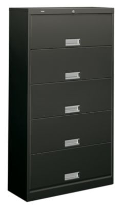 HON Brigade 600 Series 5-Shelf File Black Front Side View H625.L.S