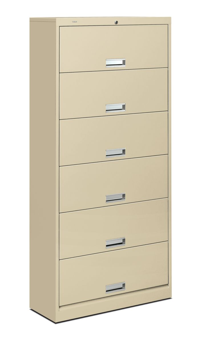 HON Brigade 600 Series 6-Shelf File Putty Front Side View H626C.L.L