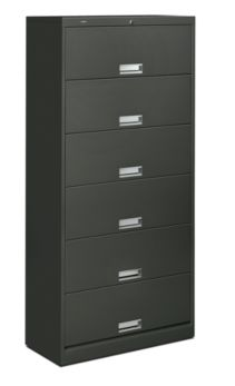 HON Brigade 600 Series 6-Shelf File Charcoal Front Side View H626C.L.S