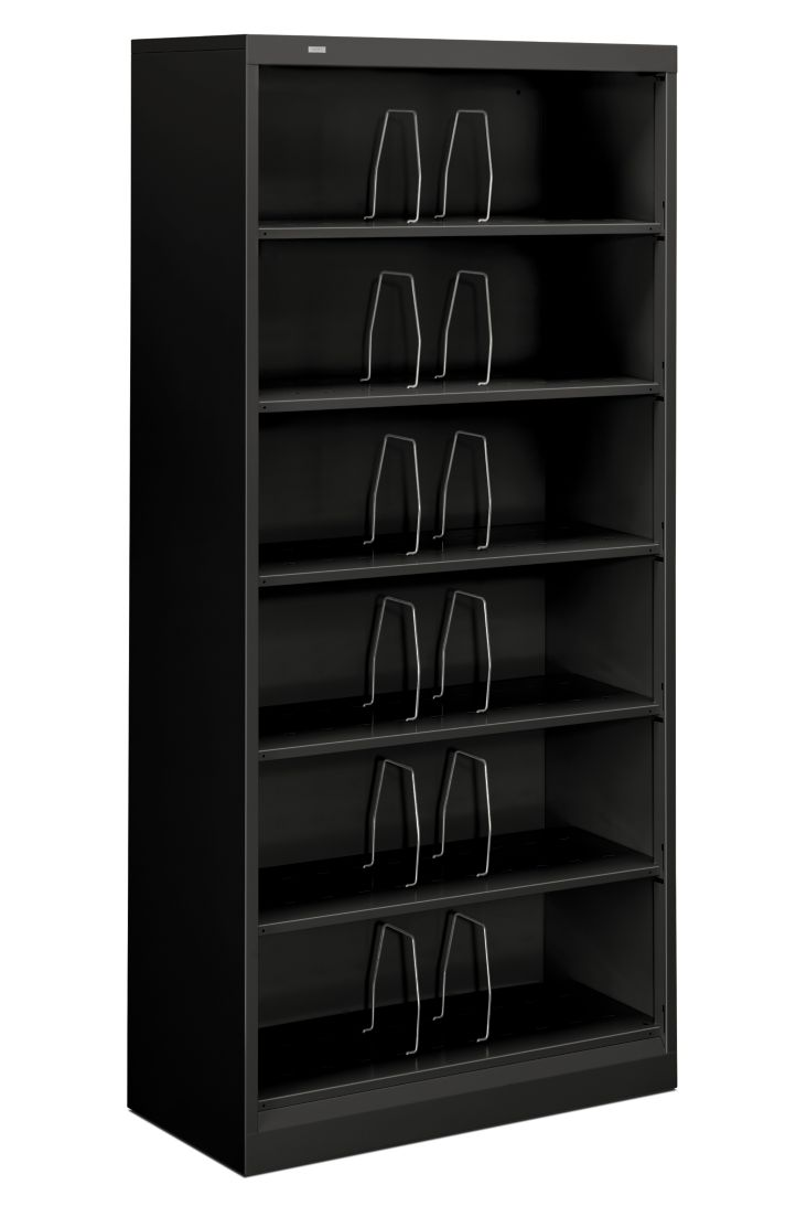 HON Brigade 600 Series 6-Shelf File Black Front Side View H626CN.P