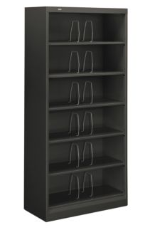 HON Brigade 600 Series 6-Shelf File Charcoal Front Side View H626CN.S