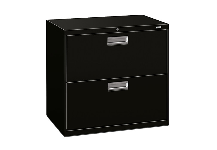 HON Brigade 600 Series 2-Drawer Lateral File Black Front Side View H672.L.P