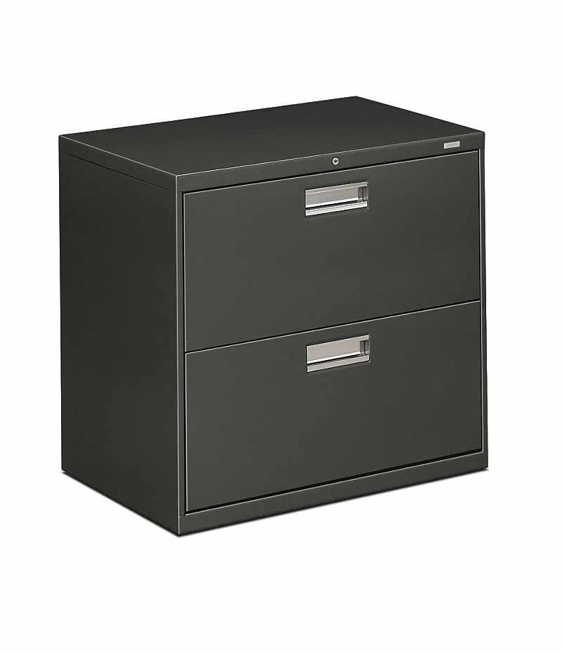 HON Brigade 600 Series 2-Drawer Lateral File Charcoal Front Side View H672.L.S