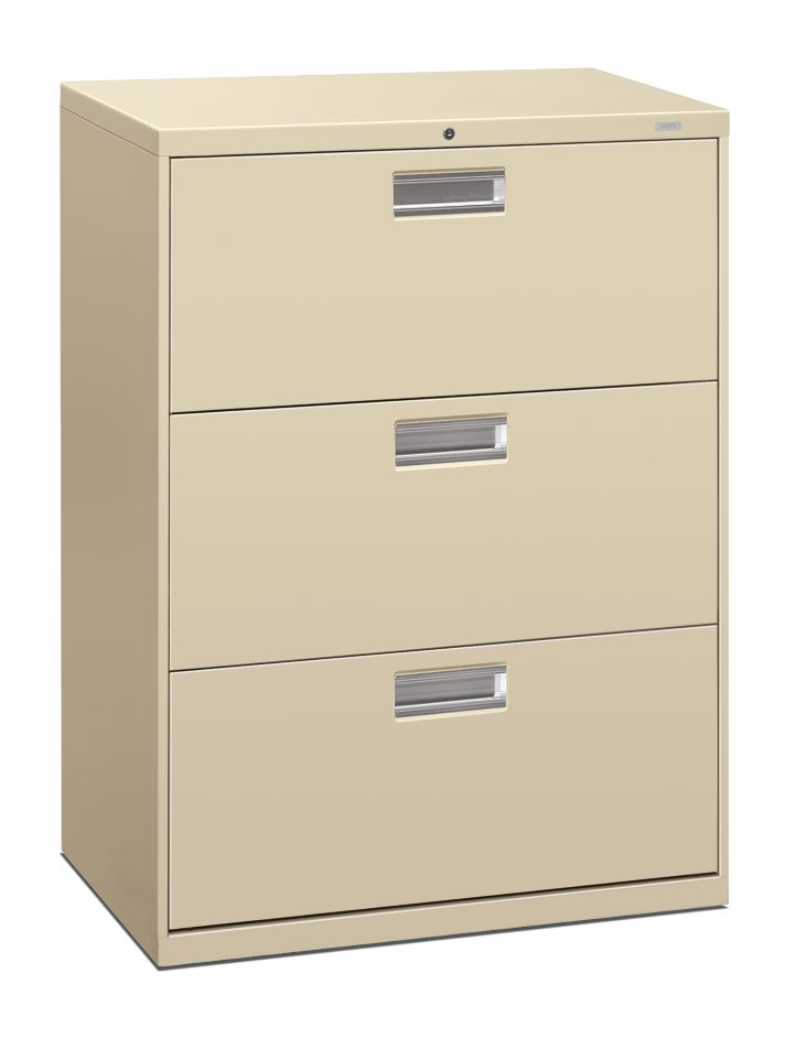 HON Brigade 600 Series 3-Drawer Lateral File Putty Front Side View H693.L.L