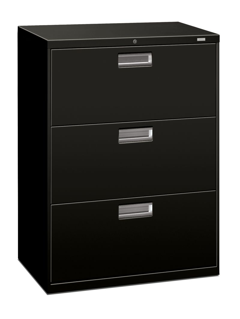 HON Brigade 600 Series 3-Drawer Lateral File Black Front Side View H693.L.P