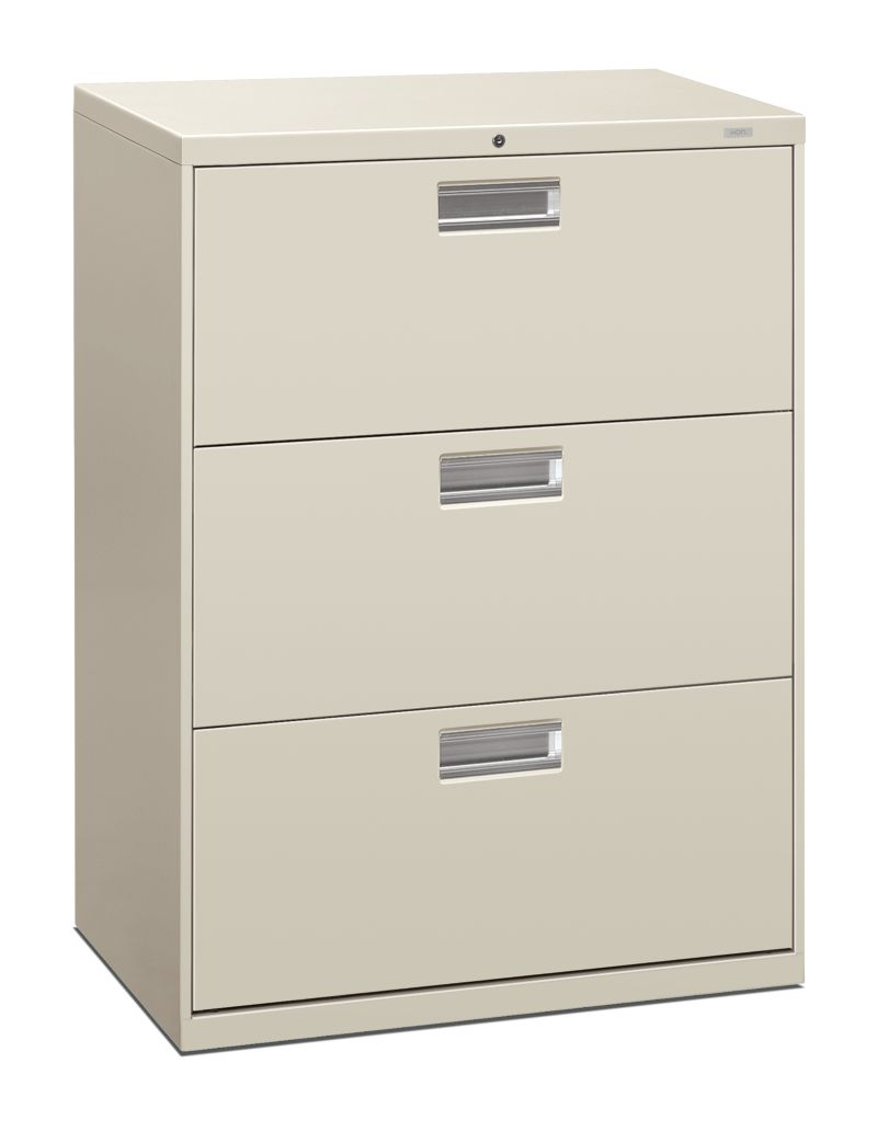 HON Brigade 600 Series 3-Drawer Lateral File Light Gray Front Side View H693.L.Q