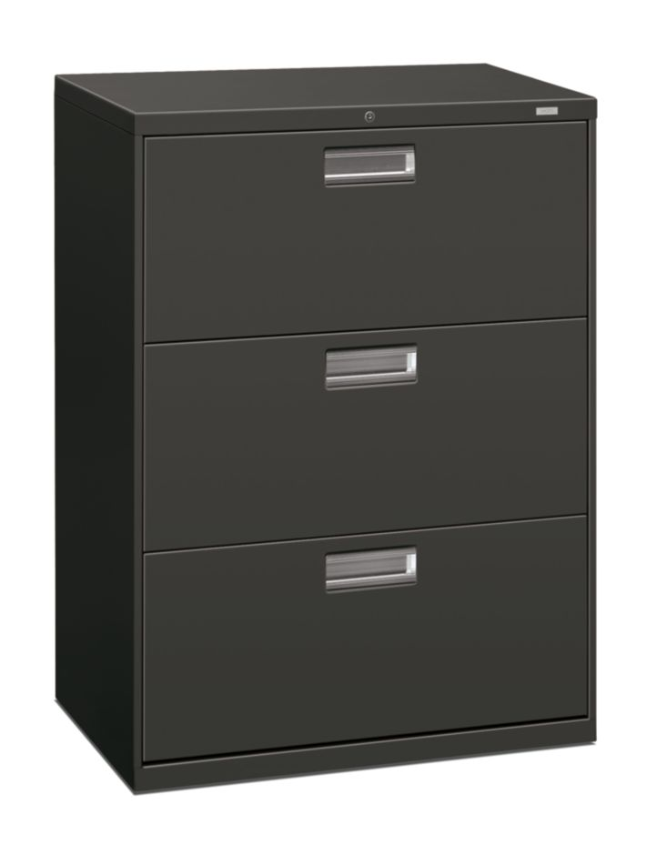 HON Brigade 600 Series 3-Drawer Lateral File Charcoal Front Side View H693.L.S