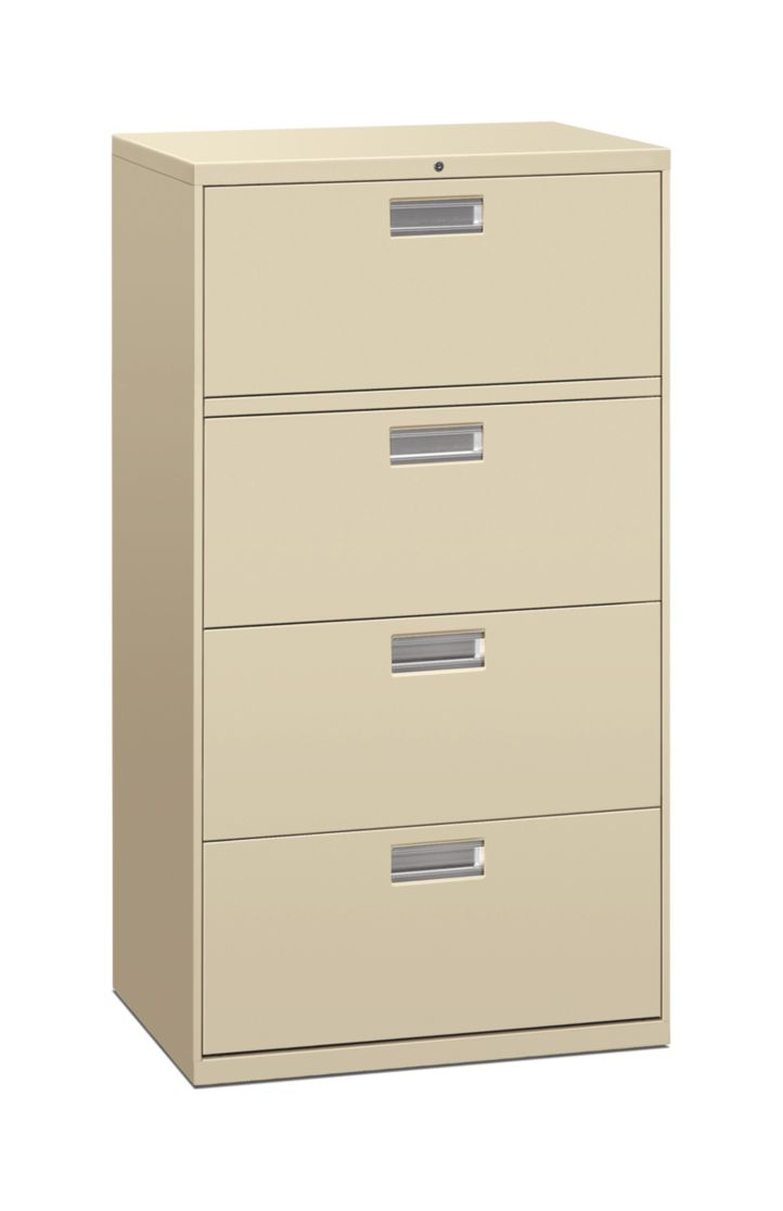 HON Brigade 600 Series 4-Drawer Lateral File Putty Front Side View H674.L.L