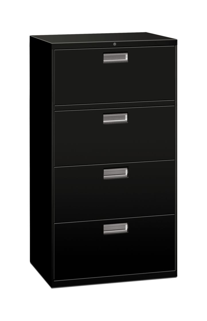 HON Brigade 600 Series 4-Drawer Lateral File Jet Black Front Side View H674.L.P