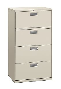 HON Brigade 600 Series 4-Drawer Lateral File Light Gray Front Side View H674.L.Q