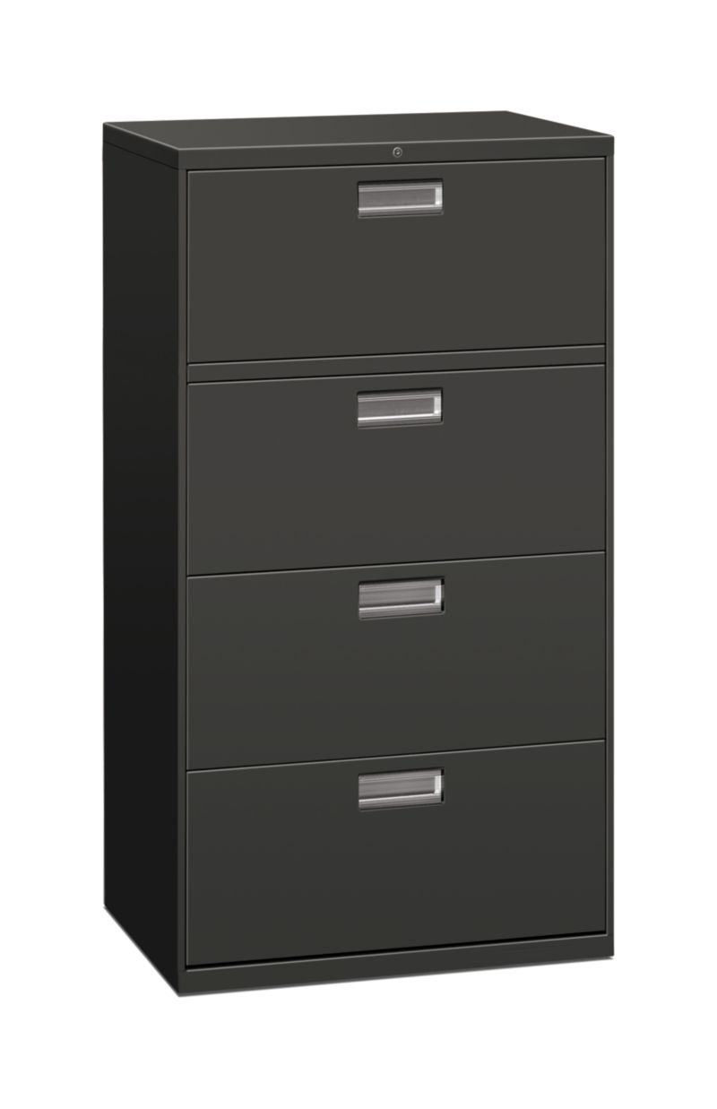 HON Brigade 600 Series 4-Drawer Lateral File Charcoal Front Side View H674.L.S