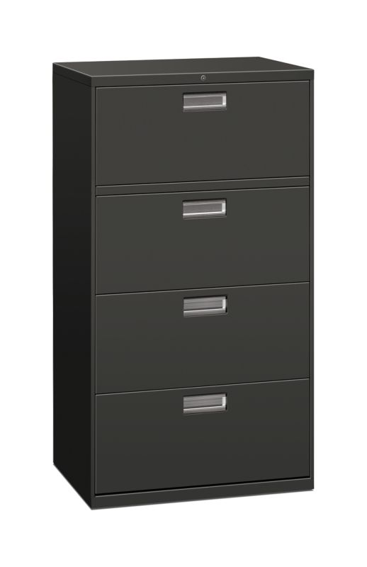 Charming HON Brigade 600 Series 4 Drawer Lateral File Charcoal Front Side View  H674.L.S
