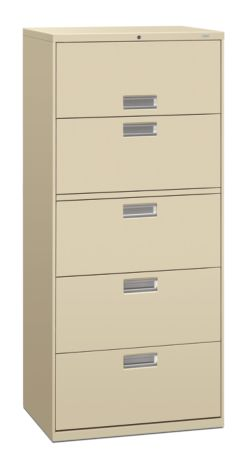 HON Brigade 600 Series 5-Drawer Lateral File Putty Front Side View H675.L.L