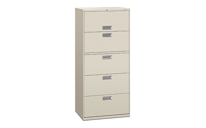HON Brigade 600 Series 5-Drawer Lateral File Light Gray Front Side View H675.L.Q