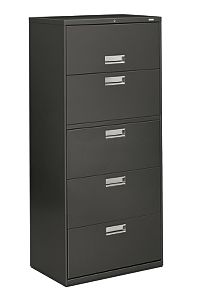 HON Brigade 600 Series 5-Drawer Lateral File Charcoal Front Side View H675.L.S