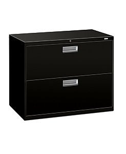 HON Brigade 600 Series 2-Drawer Lateral File Black Front Side View H682.L.P