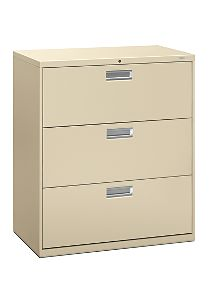 HON Brigade 600 Series 3-Drawer Lateral File Putty Front Side View H683.L.L