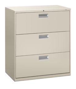 HON Brigade 600 Series 3-Drawer Lateral File Light Gray Front Side View H683.L.Q
