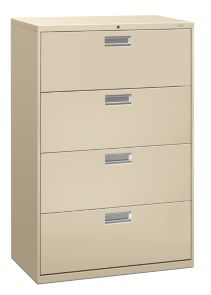 HON Brigade 600 Series 4-Drawer Lateral File Putty Front Side View H684.L.L