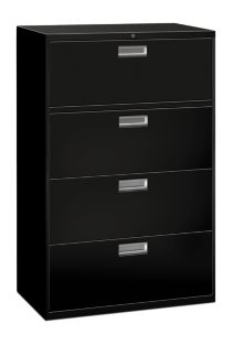 HON Brigade 600 Series 4-Drawer Lateral File Black Front Side View H684.L.P