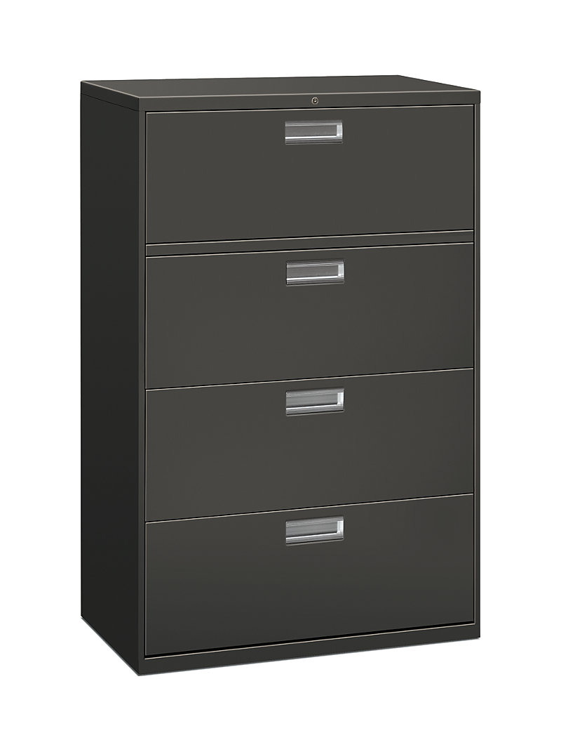 Storage hon office furniture hon brigade 600 series 4 drawer lateral file charcoal front side view h684ls malvernweather Images