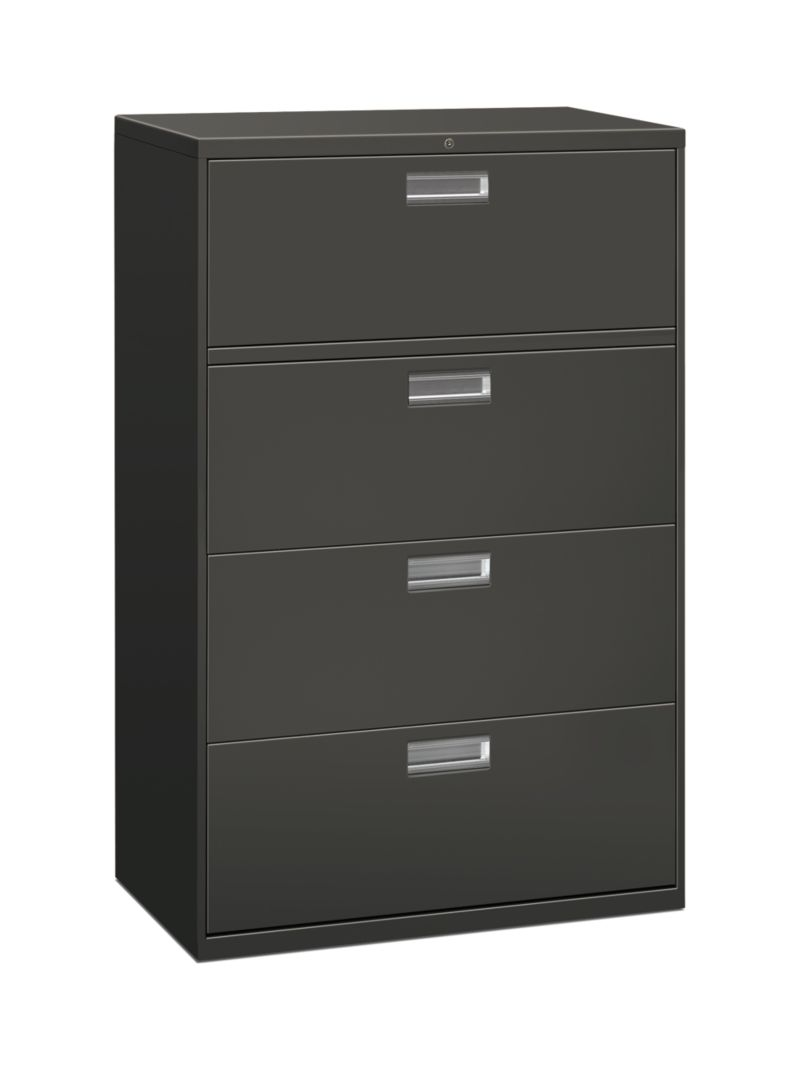 HON Brigade 600 Series 4-Drawer Lateral File Charcoal Front Side View H684.L.S
