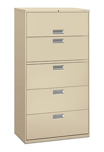 HON Brigade600 Series 5-Drawer Lateral File Putty Front Side View H685.L.L