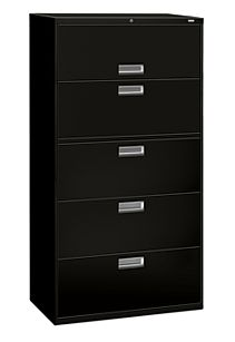 HON Brigade600 Series 5-Drawer Lateral File Black Lock Front Side View H685.L.P