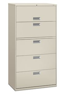 HON Brigade600 Series 5-Drawer Lateral File Light Gray Lock Front Side View H685.L.Q