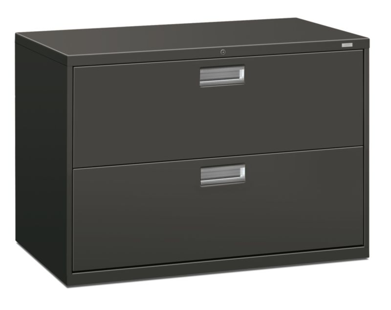 HON Brigade 600 Series 2-Drawer Lateral File Charcoal Lock Front Side View H692.L.S