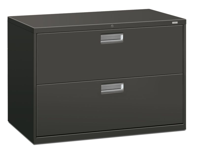 HON Brigade 600 Series 2 Drawer Lateral File Charcoal Lock Front Side View  H692.