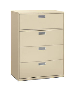 HON Brigade 600 Series 4-Drawer Lateral File Putty Front Side View H694.L.L
