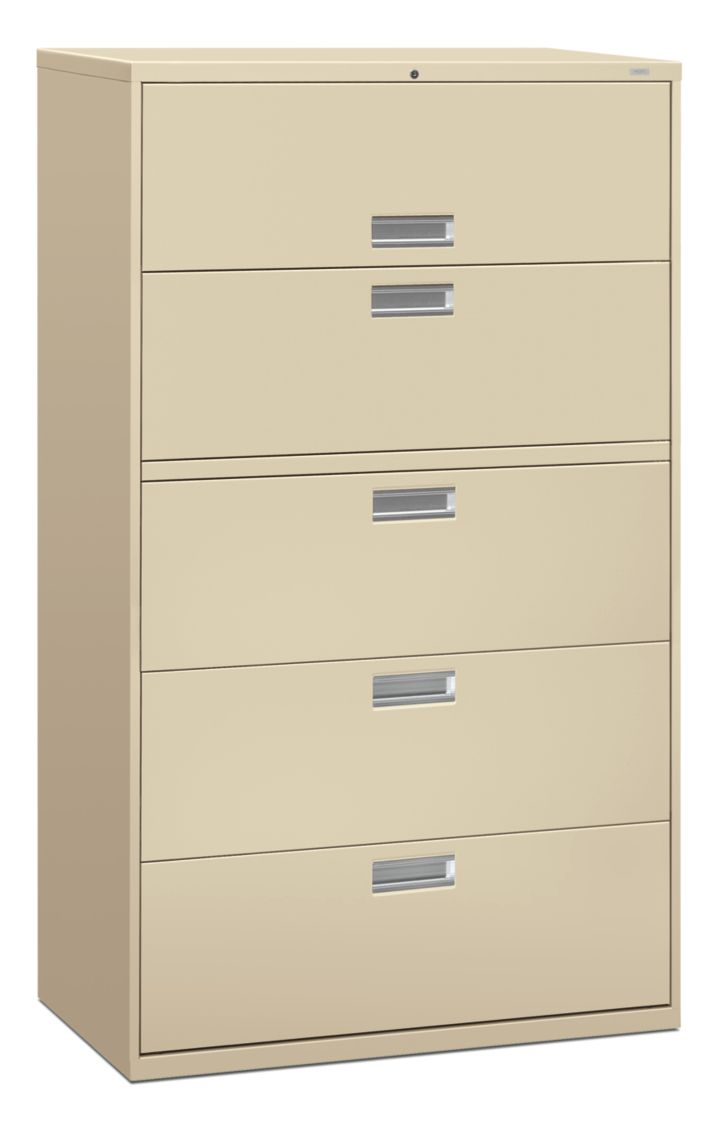 HON Brigade 600 Series 5-Drawer Lateral File Putty Color Front Side View H695.L.L