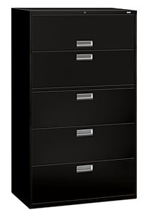 HON Brigade 600 Series 5-Drawer Lateral File Black Color Front Side View H695.L.P