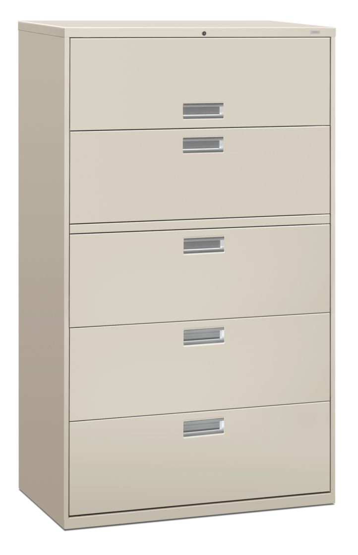 HON Brigade 600 Series 5-Drawer Lateral File Light Gray Color Front Side View H695.L.Q