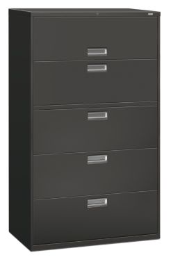 HON Brigade 600 Series 5-Drawer Lateral File Charcoal Color Front Side View H695.L.S
