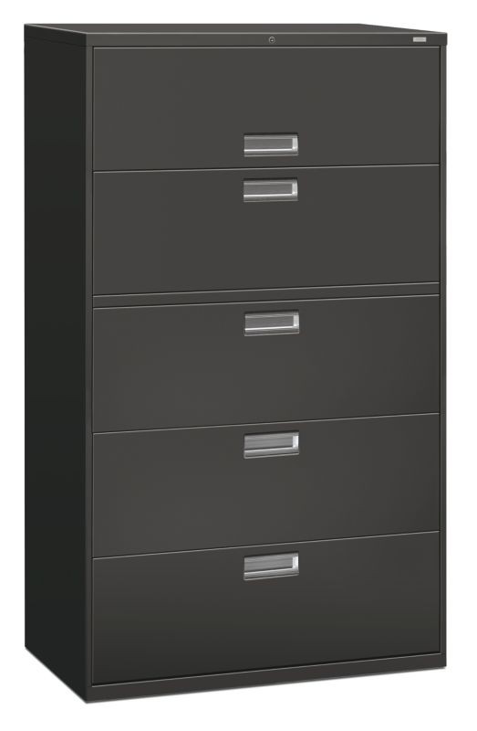 HON Brigade 600 Series 5 Drawer Lateral File Charcoal Color Front Side View  H695.