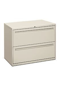 HON Brigade 700 Series 2-Drawer Lateral File Light Gray Front Side View H782.L.Q