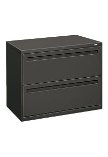HON Brigade 700 Series 2-Drawer Lateral File Light Charcoal Front Side View H782.L.S