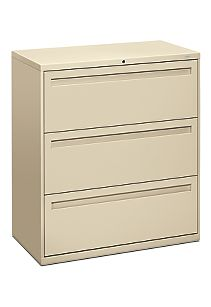 HON Brigade 700 Series 3-Drawer Lateral File Light Brown Front Side View H783.L.L