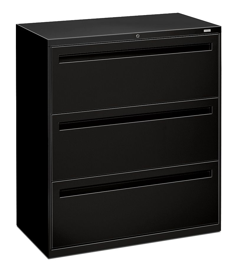 HON Brigade 700 Series 3-Drawer Lateral File Black Front Side View H783.L.P