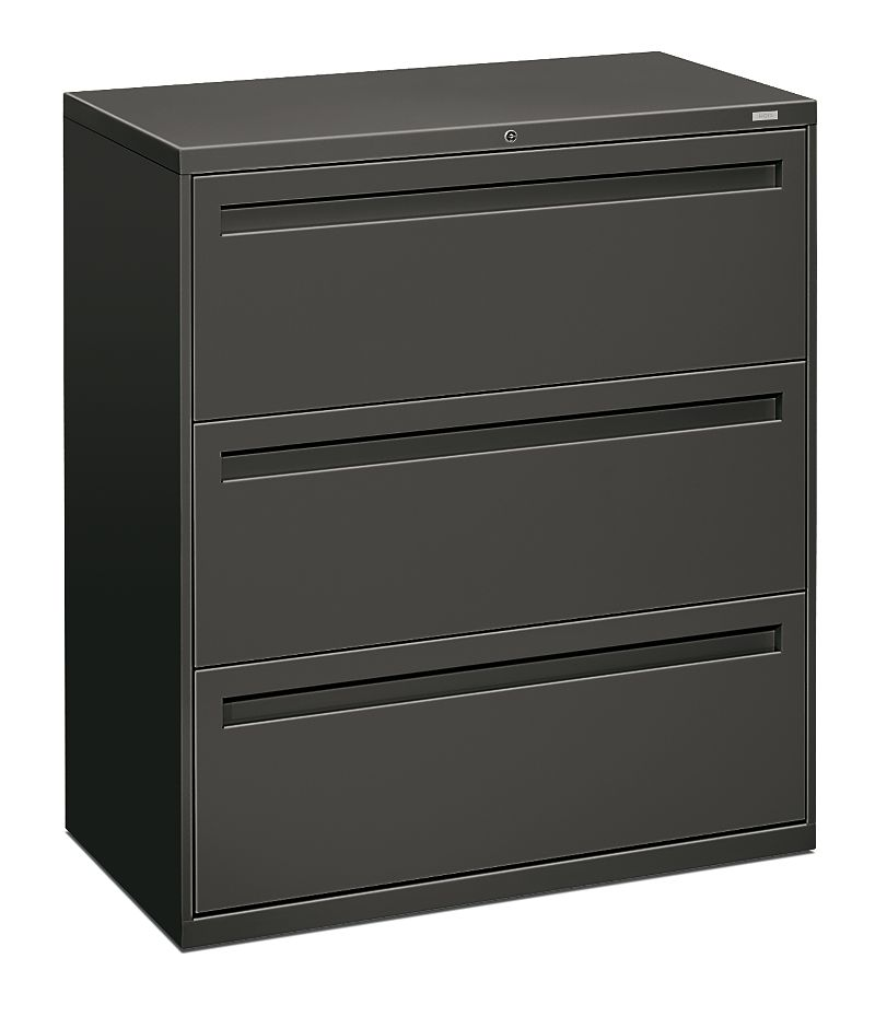 HON Brigade 700 Series 3-Drawer Lateral File Gray Front Side View H783.L.S
