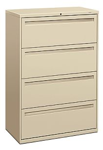 HON Brigade 700 Series 4-Drawer Lateral File Light Brown Front Side View H784.L.L