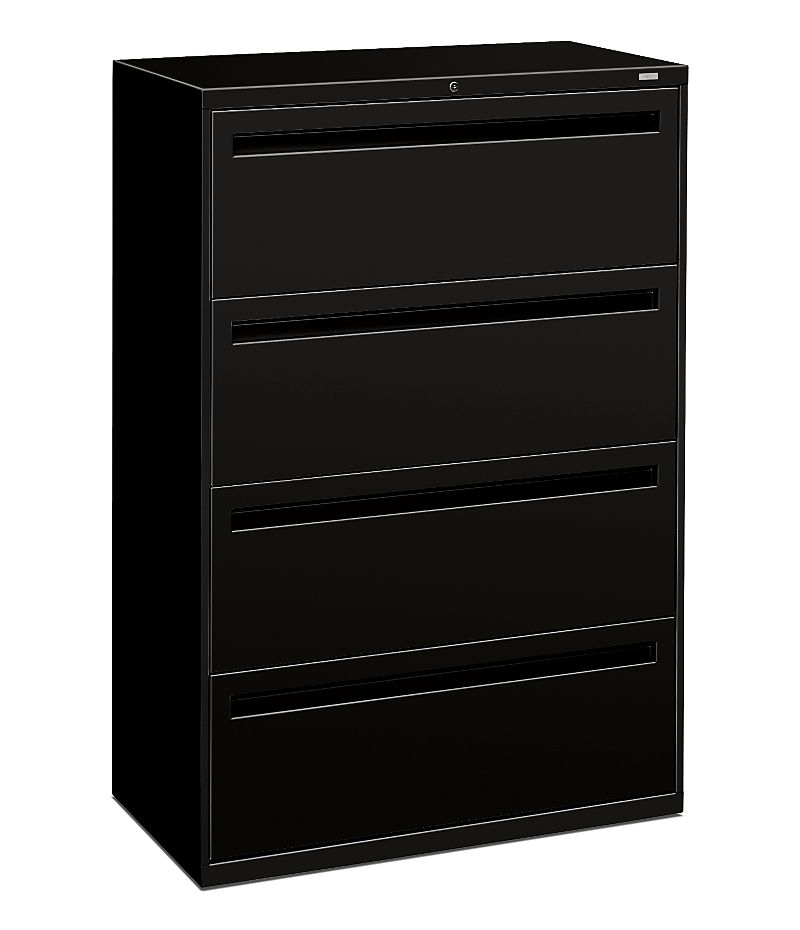 HON Brigade 700 Series 4-Drawer Lateral File Black Front Side View H784.L.P