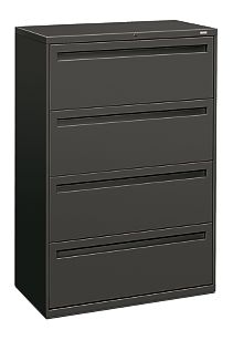 HON Brigade 700 Series 4-Drawer Lateral File Gray Front Side View H784.L.S