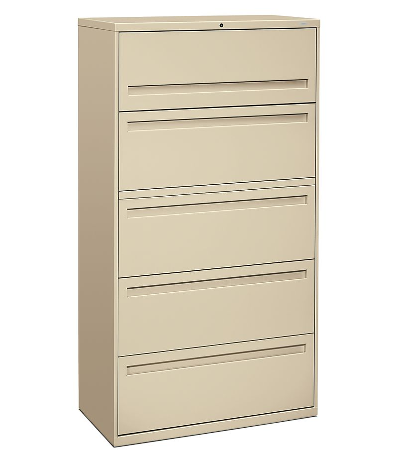 HON Brigade 700 Series 5-Drawer Lateral File Light Brown Front Side View H785.L.L
